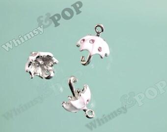 1 - 3D Itty Bitty Pink Umbrella Charms, Umbrella Charm, 15mm (1-4F)