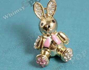 1 - Kawaii Pink Golden Bunny Rabbit Crystal Pendant Charms, Rabbit Charm, Easter Bunny Charm 38mm x 22mm (1-4I)