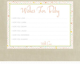 Wishes for Baby Cards - Printable - INSTANT Download - Baby Shower - Neutral Geometric