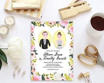 Custom Wedding Invitation Illustration, Portrait of your couple for your Wedding Invitation, Maid to Order Rustic Simple Sweet Floral Invite