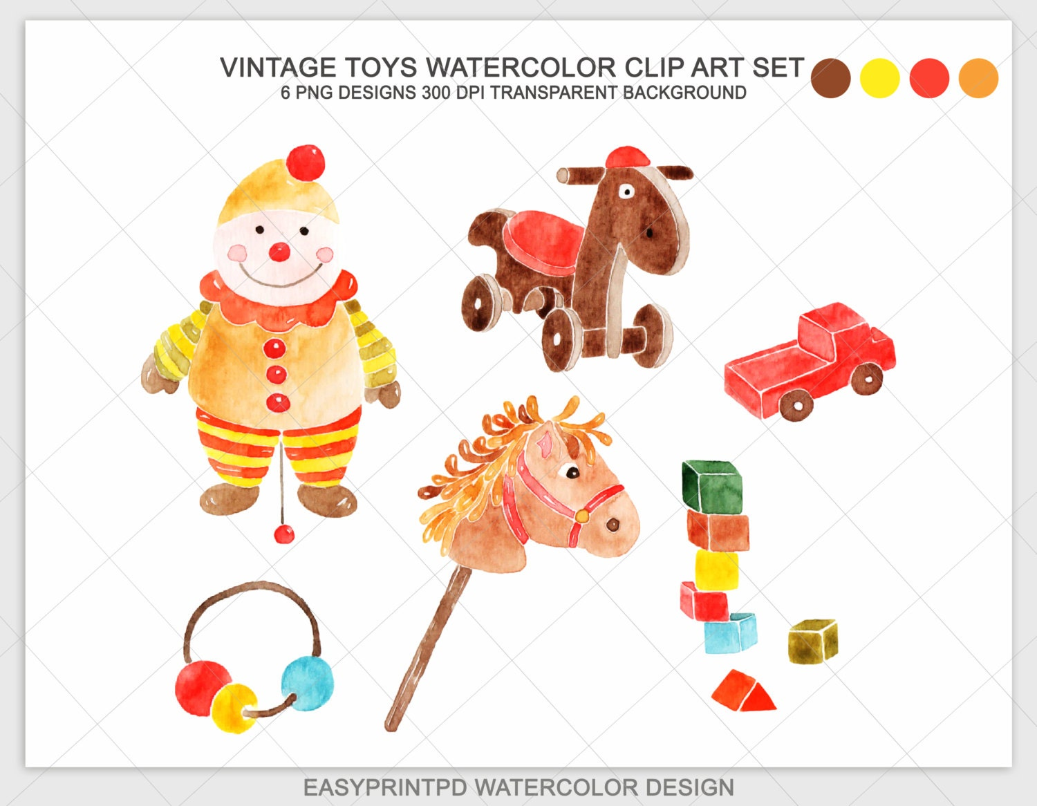 Christmas Toys Clip Art : Watercolor hand painted vintage toys clipart christmas