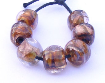 Glitter on the Highway - handmade lampwork bead set of 7 curvy cube shaped artisan beads made with goldstone