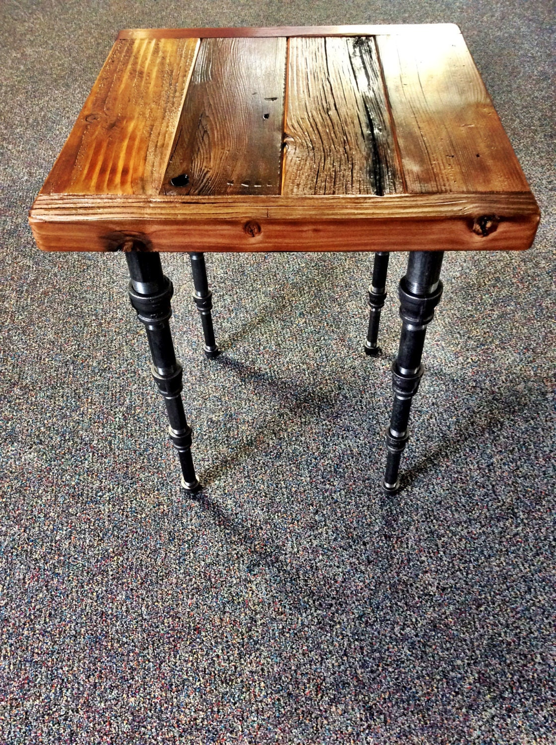 Industrial Steampunk End Table With Tapered Pipe Legs