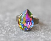 Dark Rainbow Cocktail Ring Swarovski Crystal Pastel Jewel Tone Rainbow Pear Adjustable Large Cocktail Ring Gold Silver Brass Mashugana