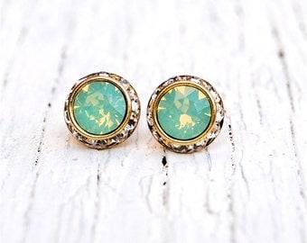 Mint Green Opal Earrings Swarovski Crystal Rhinestone Stud Earrings Sugar Sparklers Small Mashugana