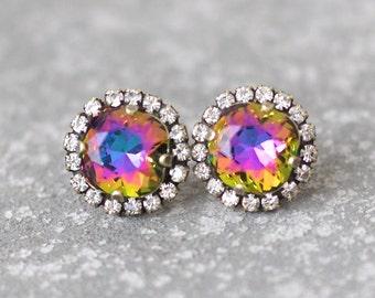 Jewel Tone Rainbow Rhinestone Swarovski Crystal Stud Earrings Pastel Rainbow Rainbow Rhinestone Pendant Necklace Mashugana