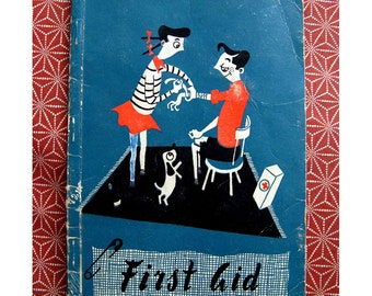 1960s Vintage First Aid Book Australian Junior Red Cross Quirky Mid Century Graphics Illustrations