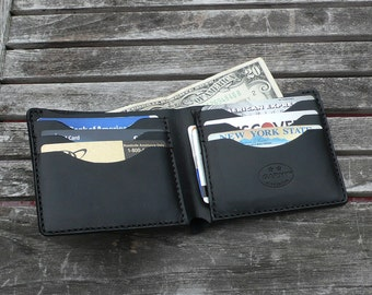 Classic Billfold Wallet, Mens wallet, mens leather wallet, handmade wallet, traditional wallet, mens leather wallet, black leather wallet