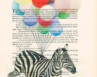 Zebra Illustration Mixed Media Digital Illustration Print Art Poster Holiday Decor Illustration wall decoration animal art: flying zebra