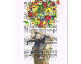 Flying Elephant with Flowers -book print-art print, Colorful flowers balloon, Vintage Print poster, Dorm decor, Home Wall decor, gift poster