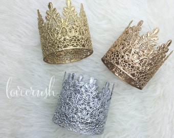READY to SHIP    Sage    vintage lace crown headband   gold silver rose gold    photography prop   FIRMEST crowns    cake topper