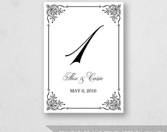 Table Number Template Printable - INSTANT DOWNLOAD - For Word and Pages - Mac and PC - Flourish Design - 5 x 7 inches