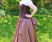 Iridescent, Embroidered Diamond Taffeta Ball Skirt with Removable Bustle - One Size Fits Most - Ready to ship