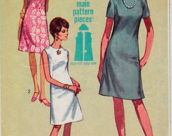 Womens Sewing Pattern 1960s A-Line Dress Sleeveless or Short Sleeve Knee Length Simplicity 7072 Bust 32 Size 12
