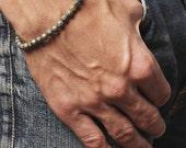 Bracelet for men - Men's Jewelry- Pyrite stone bracelet - Elastic bracelet with brass beads