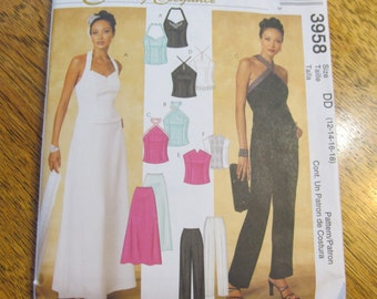 GRADUATION Fancy Halter Top & A Line Skirt or Formal Pants - Size 12 - 14 - 16 - 18 - UNCUT Sewing Pattern McCalls 3958