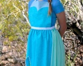 ELSA FROZEN Queen Disney princess inspired costume APRON. Fits Teen/ Adult Women sizes 0-14. Dress up Birthday Party Gift Photo Prop Ice