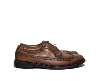 13 B | Florsheim Imperial Derby Brown Long-Wing Brogues V-Cleat Leather Heels
