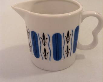 Vintage modern Creamer.   Blue and Black design on white Porcelain. Vintage 1970.  Mid Century, Mod Pop era.