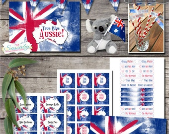 Australia Day Party Collection - INSTANT DOWNLOAD - Australian, Aussie Printable Party Invitation & Decorations by Sassaby