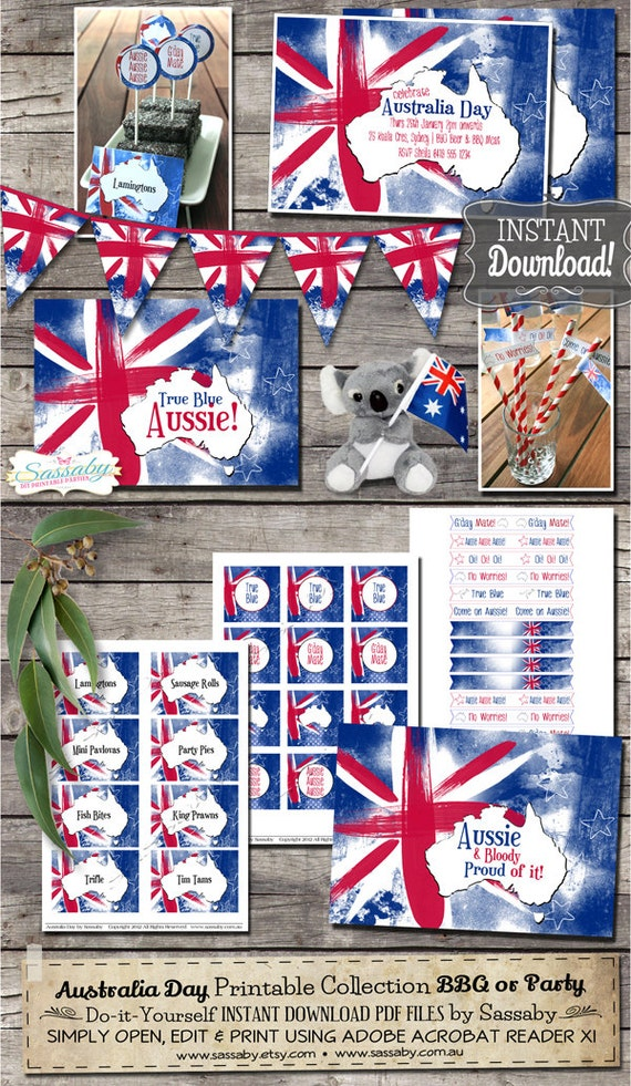 Australia Day Party Collection - INSTANT DOWNLOAD - Australian ...