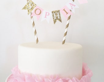 Pink and Gold Birthday Cake Topper Bunting Banner