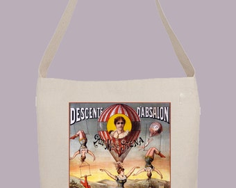 Vintage Circus Balloon Acrobats poster   - Hobo Sling Tote, 14.5x14x3, Crossbody Strap, Magnetic Closure, Inside pocket