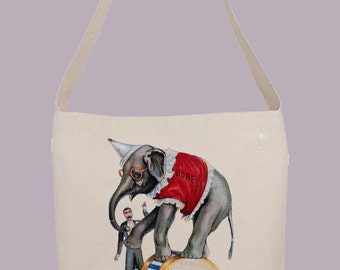 Vintage Circus Elephant Boney with Trainer  - Hobo Sling Tote, 14.5x14x3, Crossbody Strap, Magnetic Closure, Inside pocket
