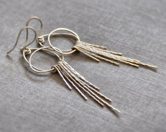 Unique sterling silver Earrings / art deco jewelry / Fête '28 / Silver or Gold / hammered / forged solid gold sterling 14k rose white