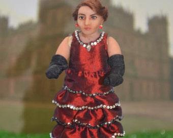 "Downton Abbey Dollhouse Doll - ""Lady Mary Crawley"" - 1/12 Scale Miniature Doll - Handmade OOAK Polymer Clay - Posable"