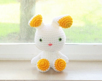 Two-Toned Bunny - White and Golden Yellow Crochet Bunny