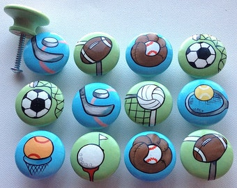 Sports Drawer Pulls / Dresser Knobs / Closet Handles / Hand Painted for Boys, Girls Rooms, Play Rooms and Nursery Rooms