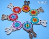CROCHET PATTERN - Bunny in Bloom - a crochet bunny pattern, applique pattern, bunny ornament, crochet motif pattern - Instant PDF Download