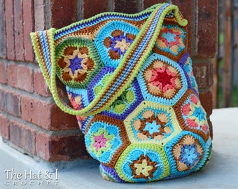 CROCHET PATTERN - Boho Bag - an african flower crochet bag pattern, colorful crochet tote pattern, purse pattern - Instant PDF Download