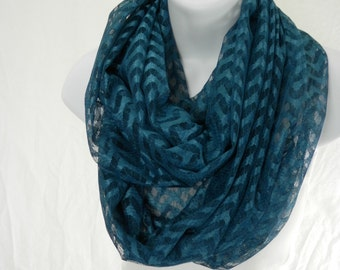 Lace Chevron Infinity Scarf in Sheer Teal Blue Double Loop Scarf Handmade by Thimbledoodle