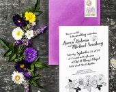 Modern Black and White Flowers Wedding Invitation Template