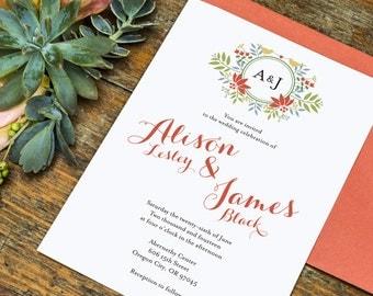 Floral Wreath Monogram Love Birds Wedding Invitation Printable Template