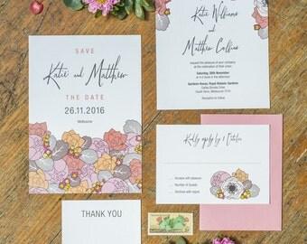 Spring Flower Wedding Invitation Set of 4 Printable