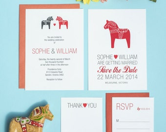 Scandinavian Dala Horse DIY Wedding Printable Set of 4
