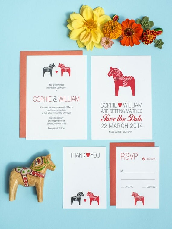 Scandinavian Dala Horse DIY Wedding Printable Set of 4
