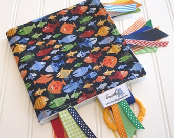 Sensory Ribbon Blanket,Lovey,Tag Blanket/Pirate Fish/Organic Cotton Fleece