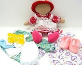 Handmade complete rag doll includes two outfits with nightie and slippers