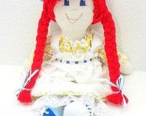 """flowered hat cloth rag doll """"hot red"""" pigtails dark blue eyes ragdoll doll raggedy NF102"""