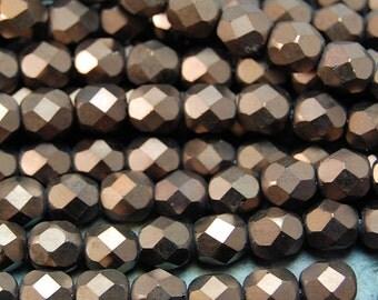 Matte - Dark Bronze Czech Glass Firepolished 6mm Beads -25