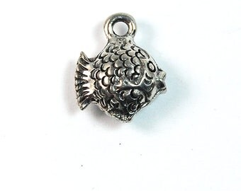 Puffed Fish Silver Pewter Charm -1