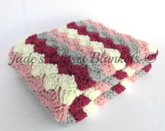 Crochet Baby Blanket, Baby Blanket, Crochet Baby Girl Blanket, Pink, Light Grey, and Aran, crib size