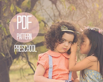 Girls Shirt Pattern Peter Pan Collar Blouse Puff Sleeves Easy Sewing Pattern Size 4T 4 5T 5 6T 6 Beginner Shirt Pattern Vintage Kids Clothes