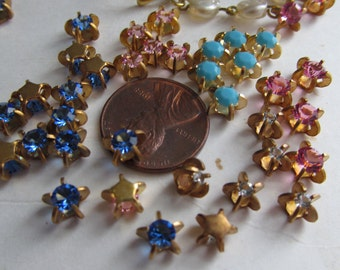 20 Tiny Crystal Stones in Star Brass Settings