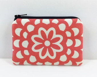 Lotus Flower Coin Purse - Zipper Pouch - Card Case - Red Orange - Mini Wallet - Gift ideas - Padded Pouch - Change Purse