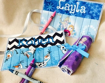 Adorable Frozen Personalized Crayon Roll